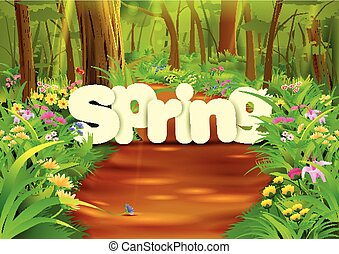Spring wallpaper background - vector illustration of Spring...