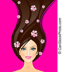 Vector illustration of spring woman