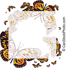 frame of butterflies