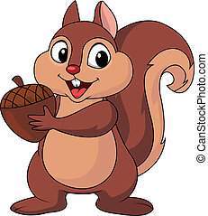Squirrel cartoon with nut - Vector illustration of Squirrel...