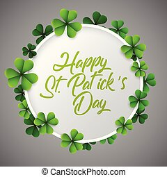 St Patrick's day background with green clover round frame isolated on gray background