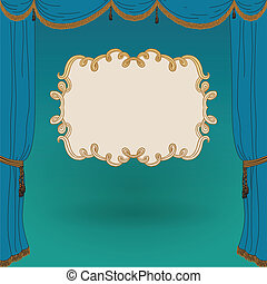 turquoise stage curtains. Vintage poster template cover. vector illustration for theater, cinema, movie, performance, musical.