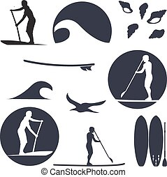 vector illustration of stand up paddling silhouette icon set...