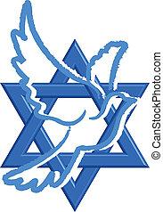 Vector illustration of Star of David & pegeion