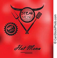 Steak Menu Poster - Vector Illustration Of Steak Menu Poster...
