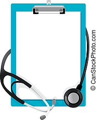 Stethoscope on Blank Paper Clipboard