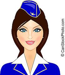 Vector illustration of stewardess