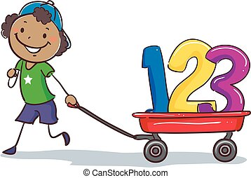 Stick Black Boy Pulling wagon with 123 - Vector Illustration...