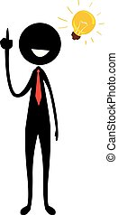 Stick Figure Silhouette Businessman with Light Bulb Idea