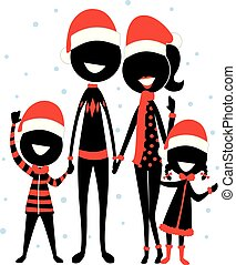 Stick Figure Silhouette Family Icon wearing Christmas Costume