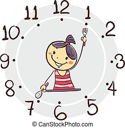 Stick Girl using his arm as clock hand pointing 7 o'clock for breakfast