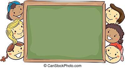 Stick Kids beside a Blank Blackboard