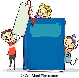 Stick Kids beside Big Book and Bookmark