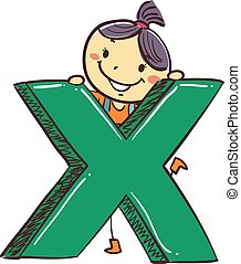 Stick Kids Girl with Cross Mark Symbol