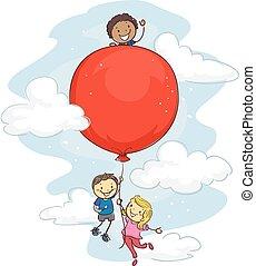 Stick Kids Hanging on Red Balloon