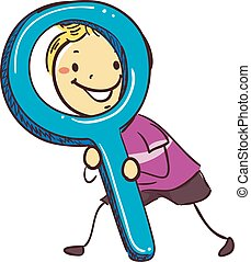 Stick Kids Holding a Giant Magnifying Glass