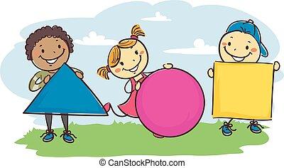 Stick Kids Holding Different Geometric Shapes