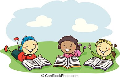 Stick Kids Reading Books while lying on the field