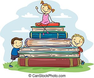 Stick Kids sitting on Pile of Books