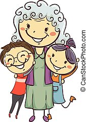 Stick Kids with Grandma - Vector Illustration of Stick Kids...