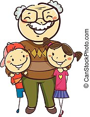 Stick Kids with Grandpa - Vector Illustration of Stick Kids ...