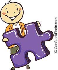 Stick Man Boy Holding a Puzzle Piece
