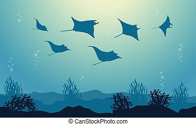 Vector illustration of stingray beauty sea landscape