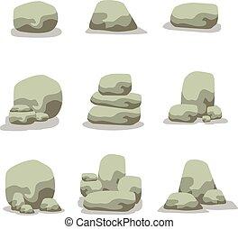 Vector illustration of stone rock set