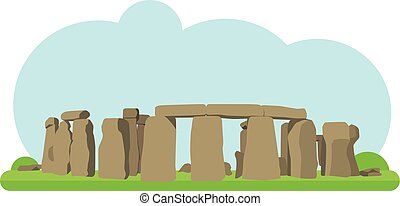 Vector illustration of Stonehenge in flat style and isolated...