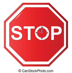 Vector illustration of Stop sign with clock
