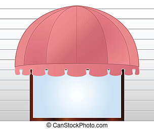 vector illustration of Storefront Awning in reddish pink