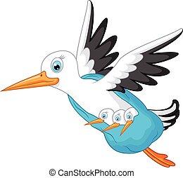 Stork cartoon carrying a baby