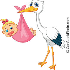 Stork with baby girl cartoon