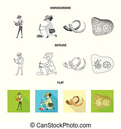 Vector illustration of story and items icon. Collection of...