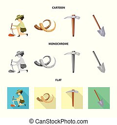 Vector illustration of story and items logo. Collection of...