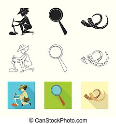 Vector illustration of story and items symbol. Collection of...