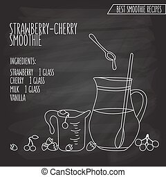 vector illustration of strawberry cherry smoothie recipe hand drawn in flat linear design style on blackboard background