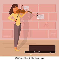 Vector illustration of street musician with violin