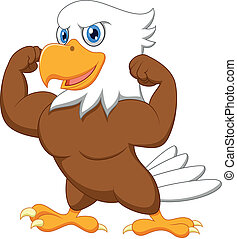 Vector illustration of Strong eagle cartoon