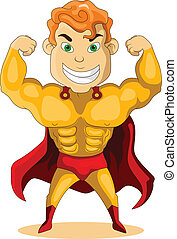 strong super hero - vector illustration of strong super hero