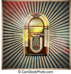 classic juke box - Vector illustration of style detailed ...