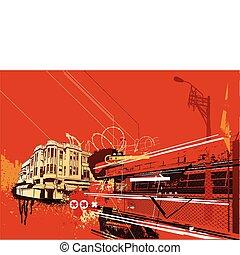 urban background - Vector illustration of style urban ...