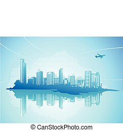 urban background - Vector illustration of style urban ...