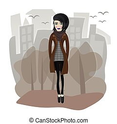Vector illustration of stylish girl