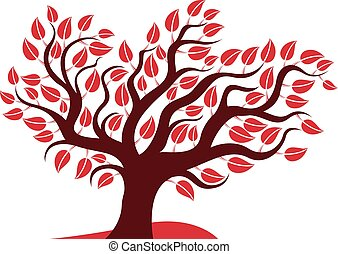 Vector illustration of stylized branchy tree isolated on white background. Ecology conservation theme image.