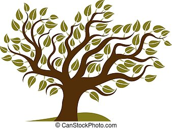 Vector illustration of stylized branchy tree isolated on ...