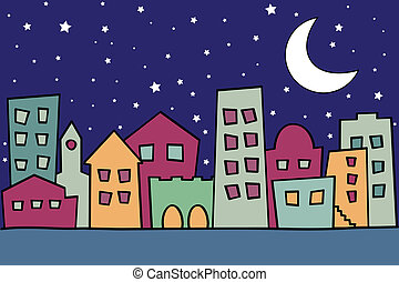 Vector illustration of stylized night city