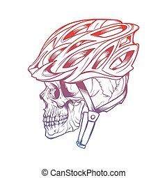 Vector illustration of stylized skull wearing a cyclist...