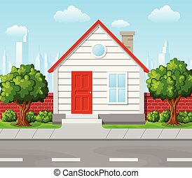 Vector illustration of Suburban house with tree and city background