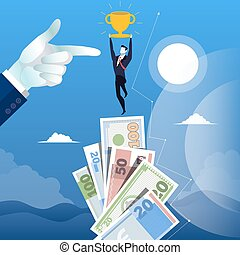 Vector illustration of successful businessman standing on money top